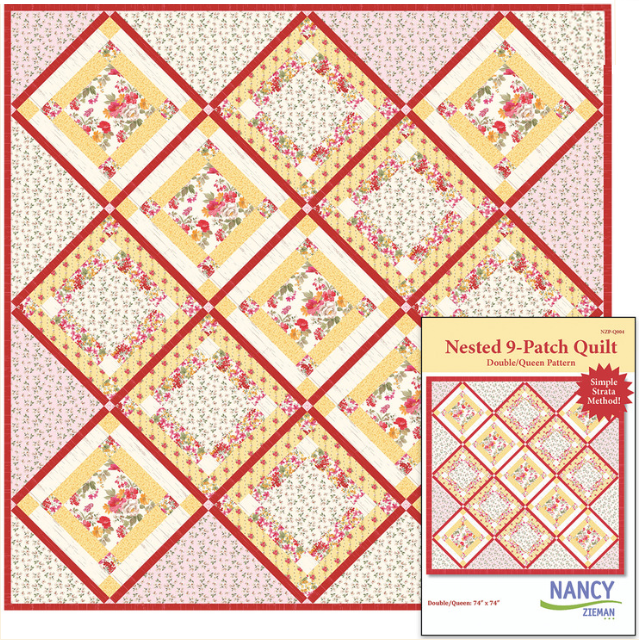 Nested 9-Patch Quilt Pattern by Nancy Zieman Featuring Farmhouse Florals Fabrics by Riley Blake Designs