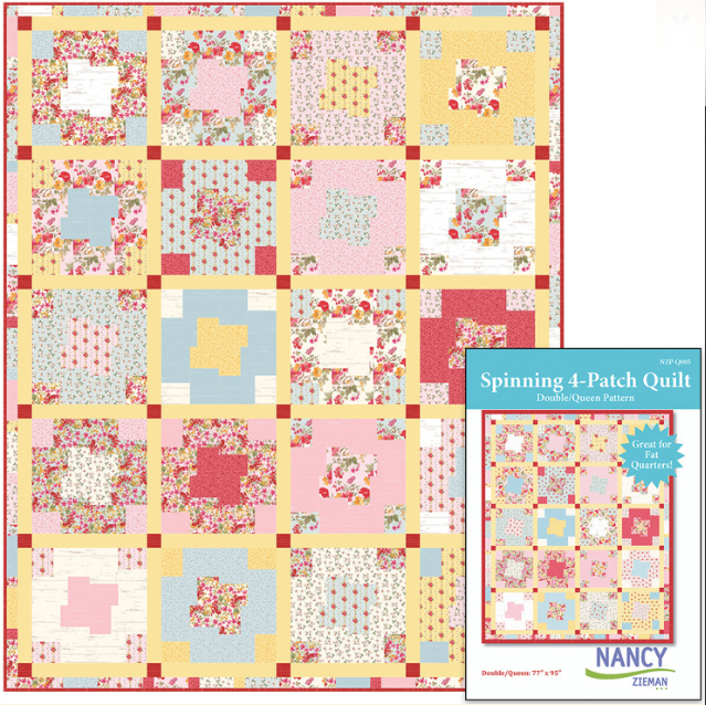 Spinning 4-Patch Quilt Pattern by Nancy Zieman Featuring Farmhouse Florals Fabrics by Riley Blake Designs