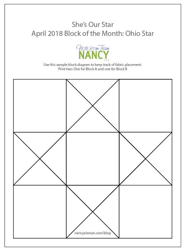 Nancy Zieman April 2018 Block of the Month Ohio Star Block