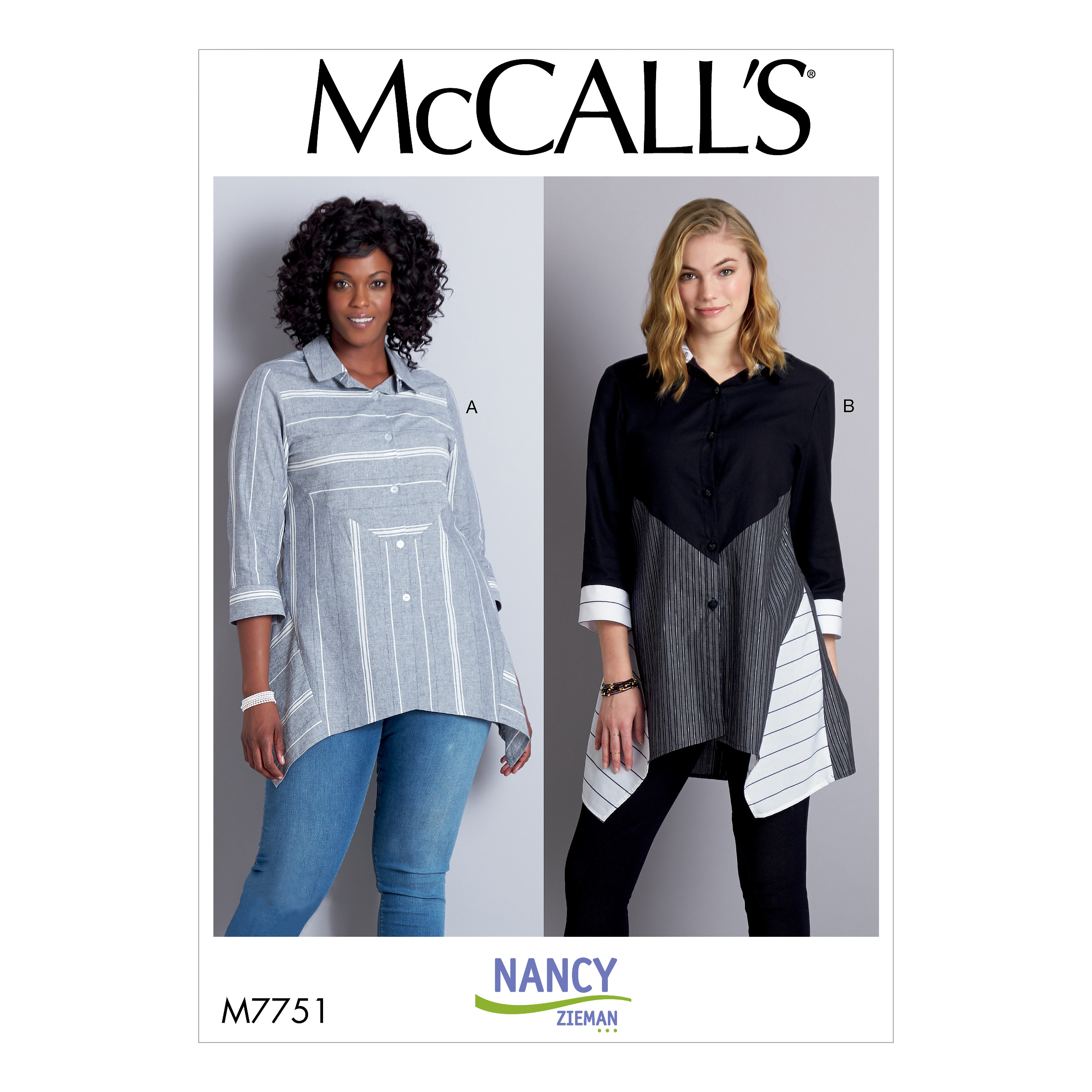 McCall's 7751 Misses Loose Fitting, Button Front Top with Back Yoke, Side inset, and shaped hemline.