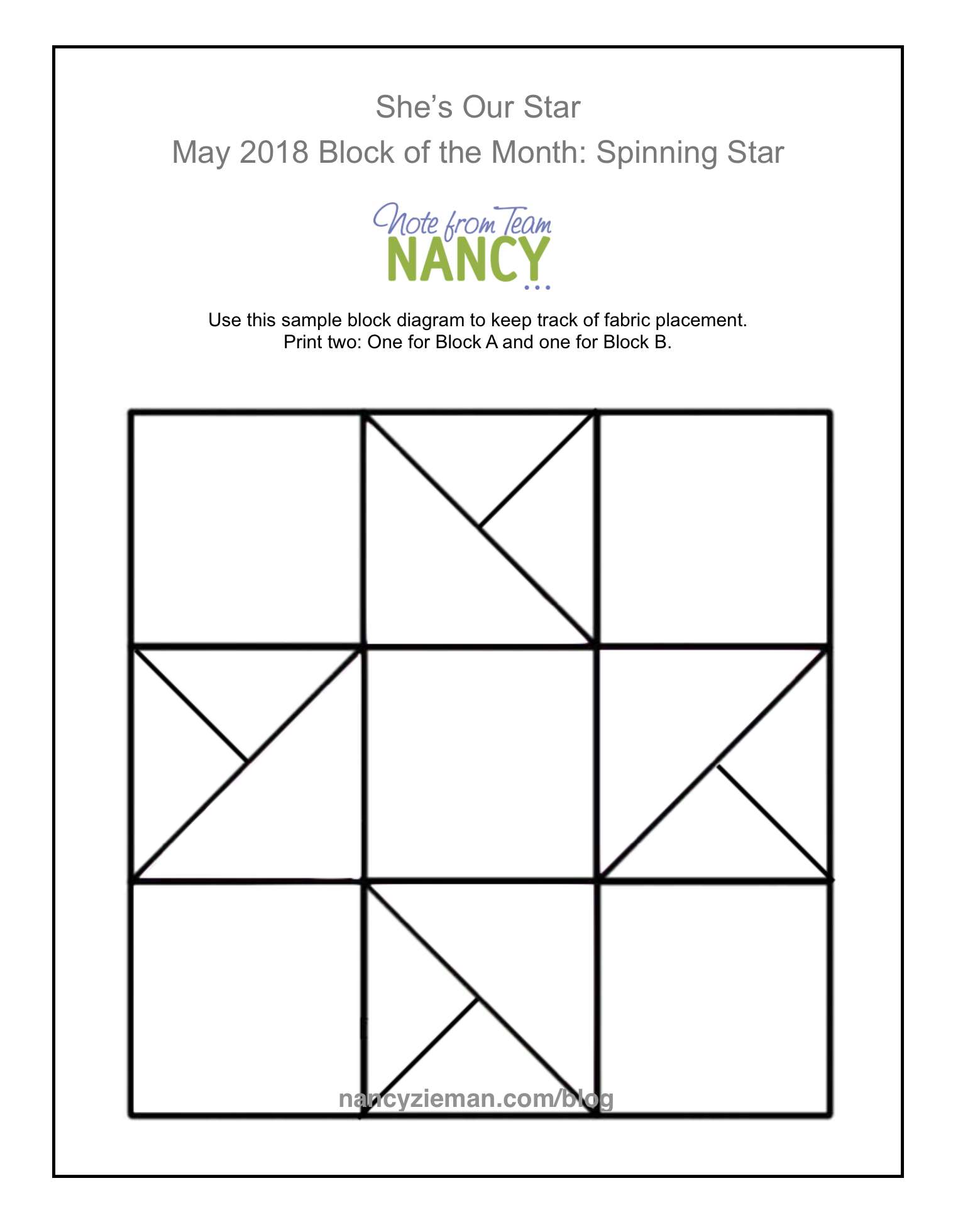 May 2018 Block of the Month Spinning Star