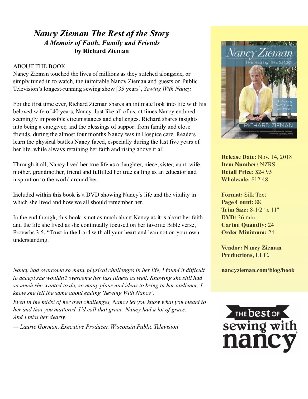 Nancy Zieman the Rest of the Story - A Memoir of Faith Family and Friends available at Nancy Zieman Productions and ShopNZP.com