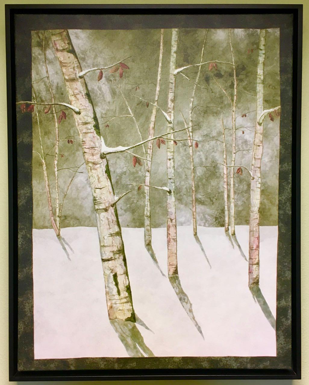 Moon Lit Birches Original Giclée Canvas Print Reproduction of Artwork by Nancy Zieman available at shopnzp.com