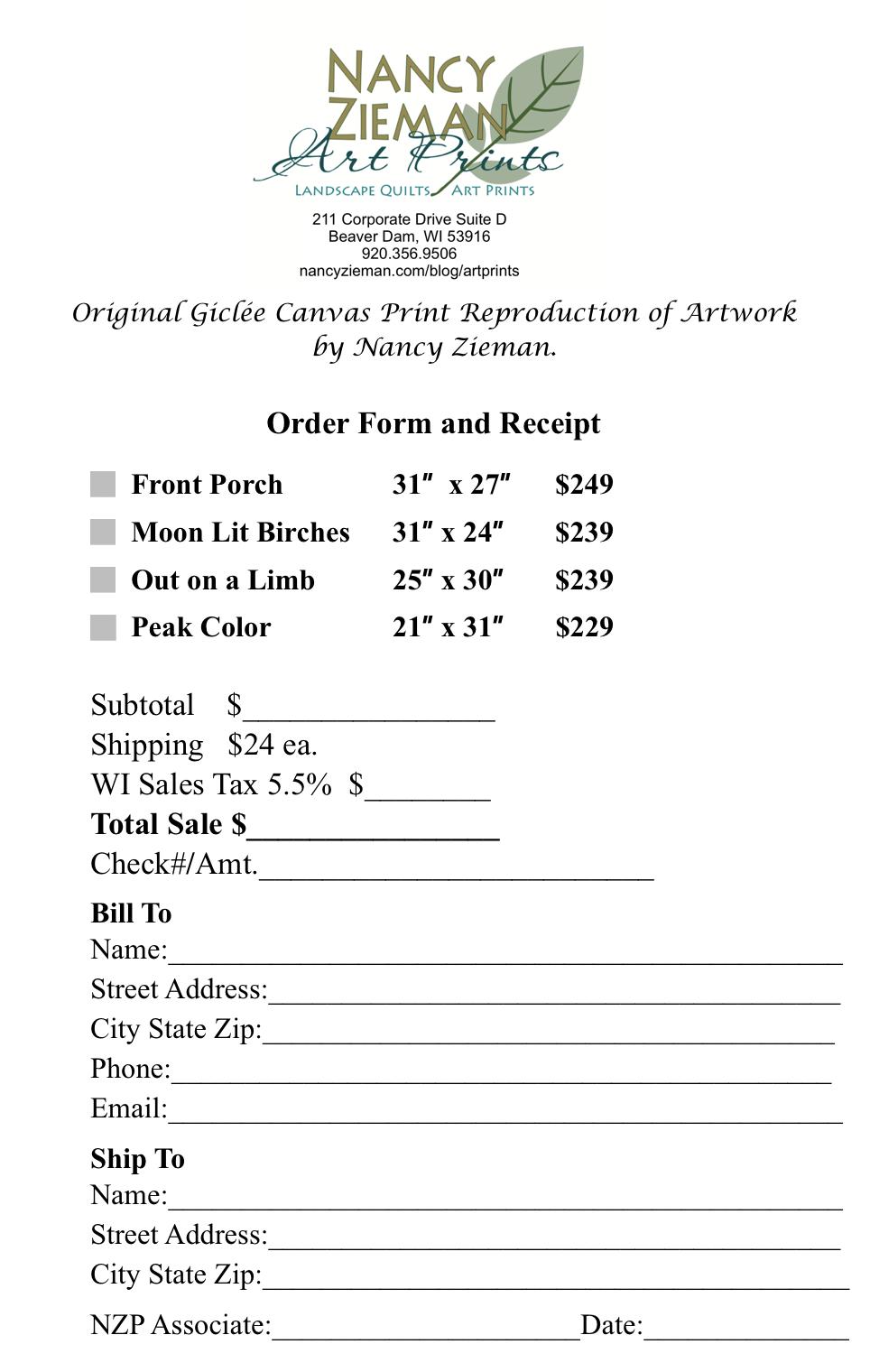 Nancy Zieman Art Print Order Form 1
