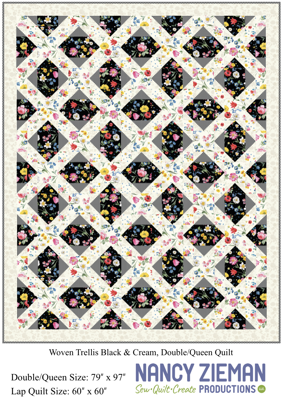 Afternoon Picnic Woven Trellis Black Cream1