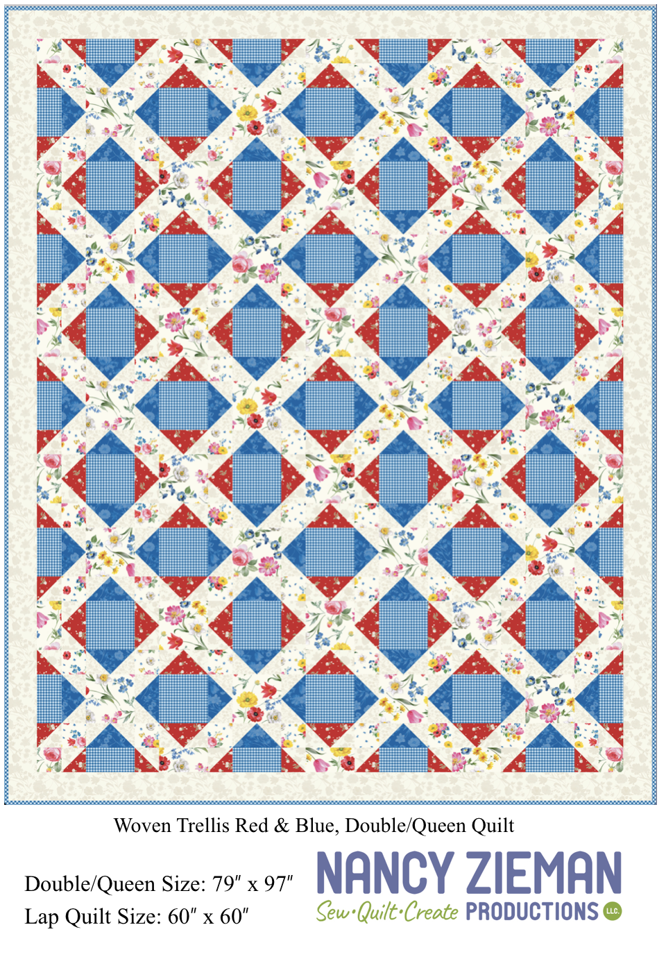 Afternoon Picnic Woven Trellis Red Blue