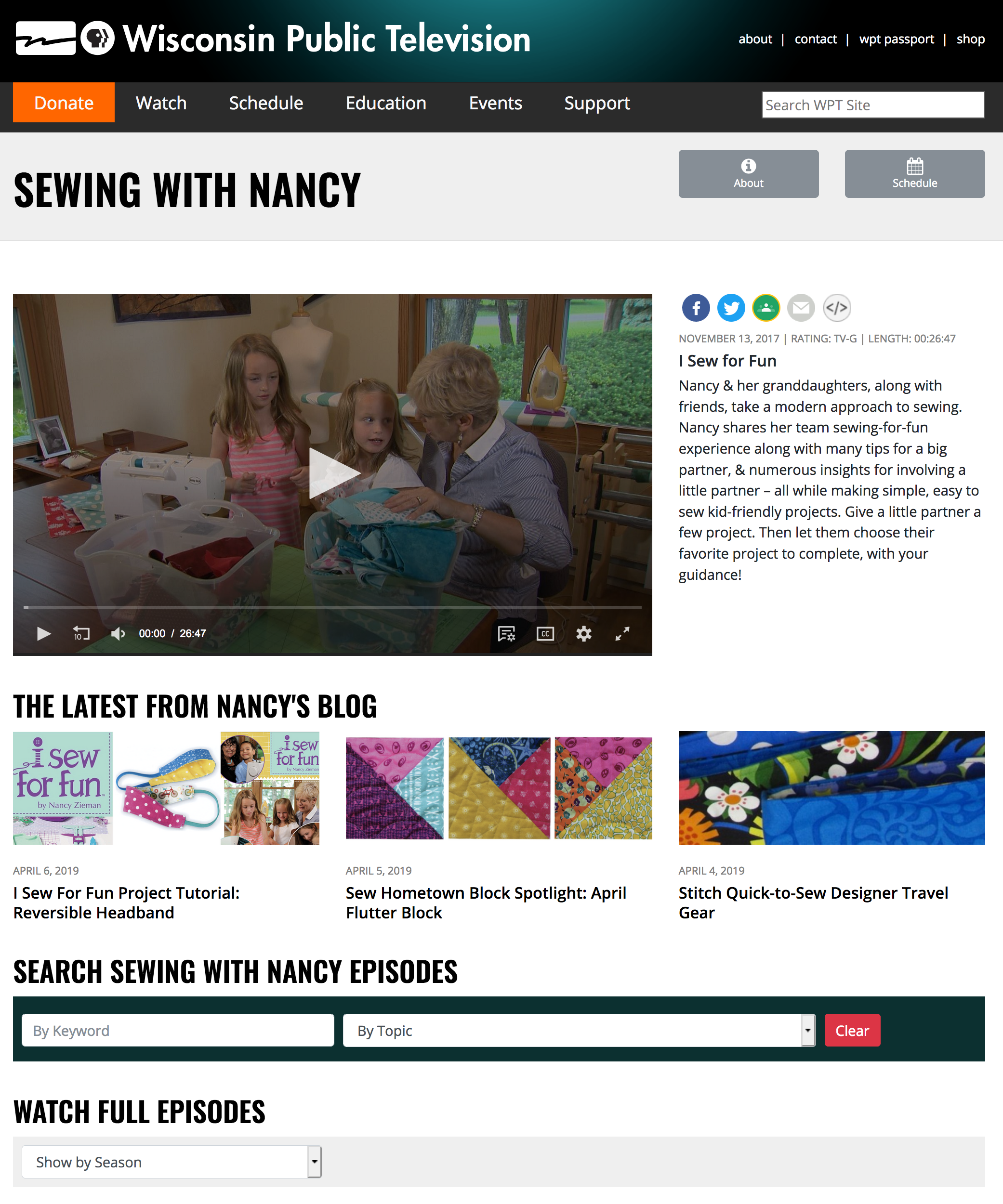 Watch the Sewing With Nancy television show online at NancyZieman.com