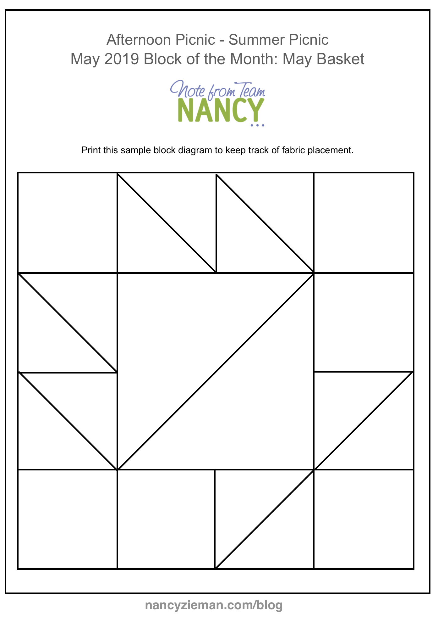 2019 Afternoon Picnic Block of the Month May Planner