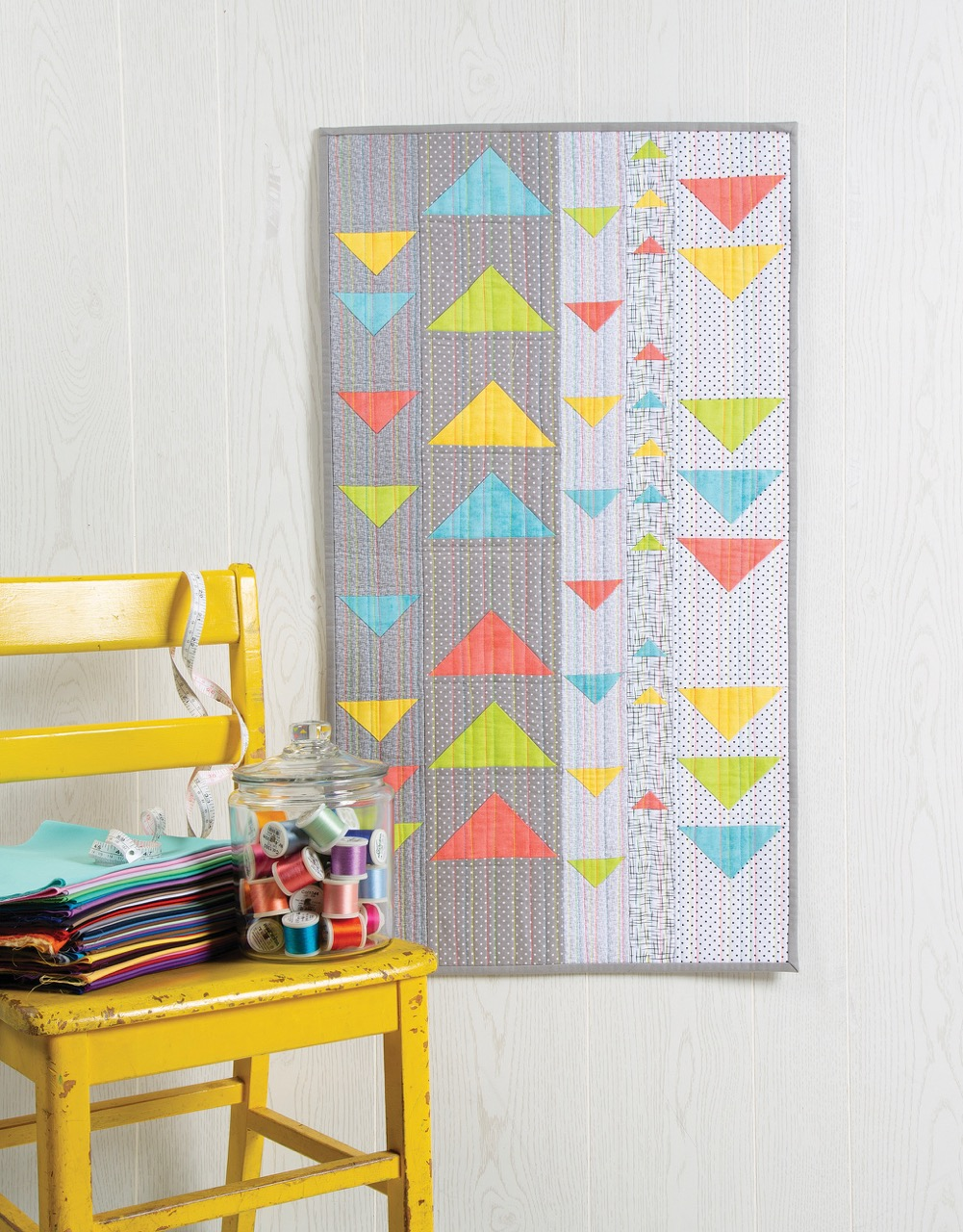NEW! Modern Floating Triangles Wall Hanging and Table Runner by Nancy Zieman Productions.