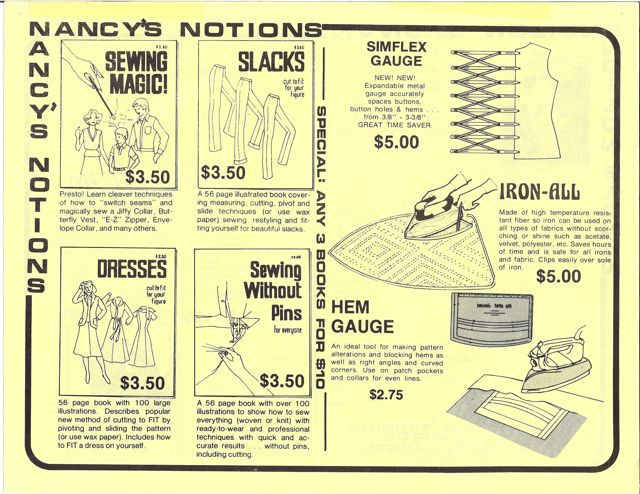 Very First Nancy's Notions One-Sheet Flyer in 1979 by Nancy Zieman