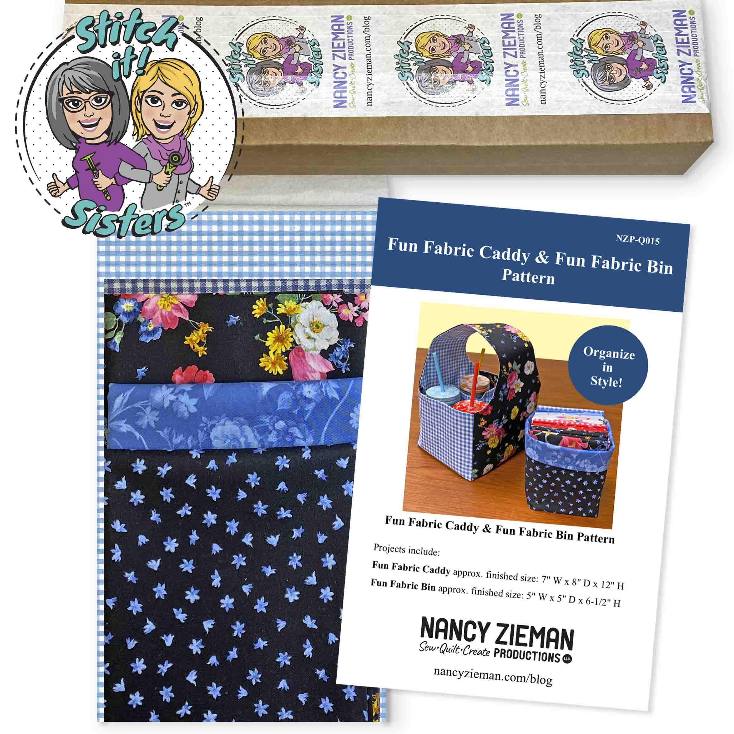 NEW! Fun Fabric Caddy & Fun Fabric Bin Bundle Box by the Stitch it! Sisters available at shopnzp.com
