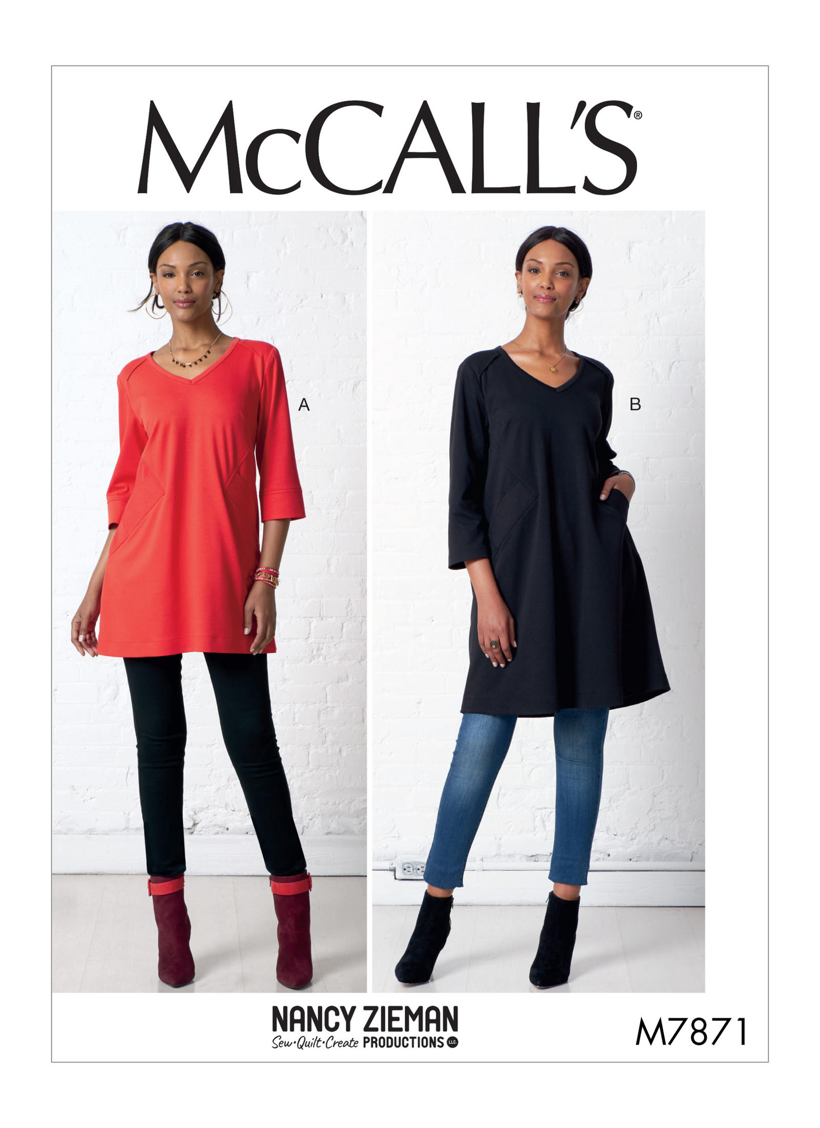 McCalls M7871 Knit Tunics and Dress Pattern by Nancy Zieman Productions available at ShopNZP.com