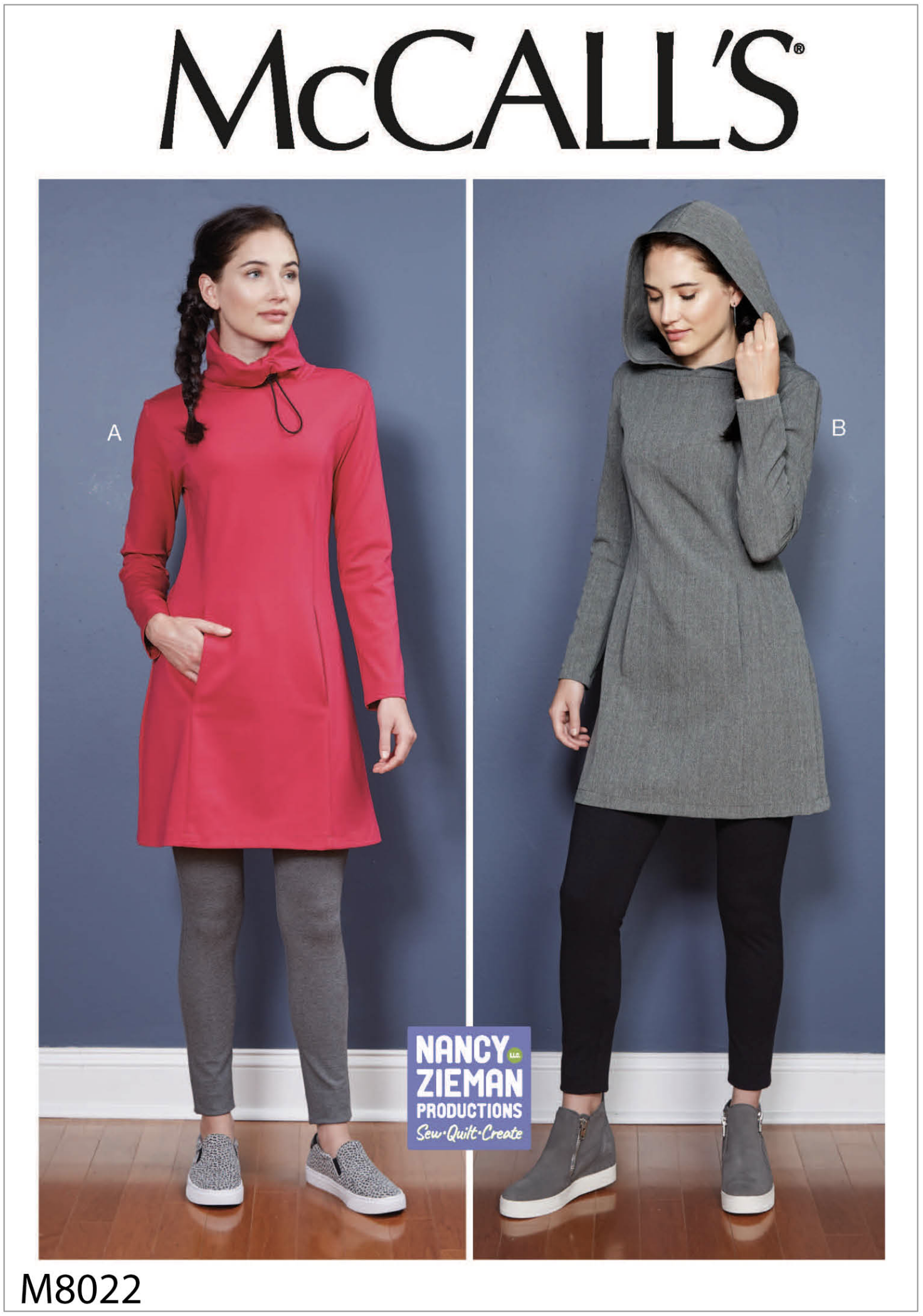 McCall's 8022 Cowl Dress and Hooded Tunic Fashion Sewing Pattern