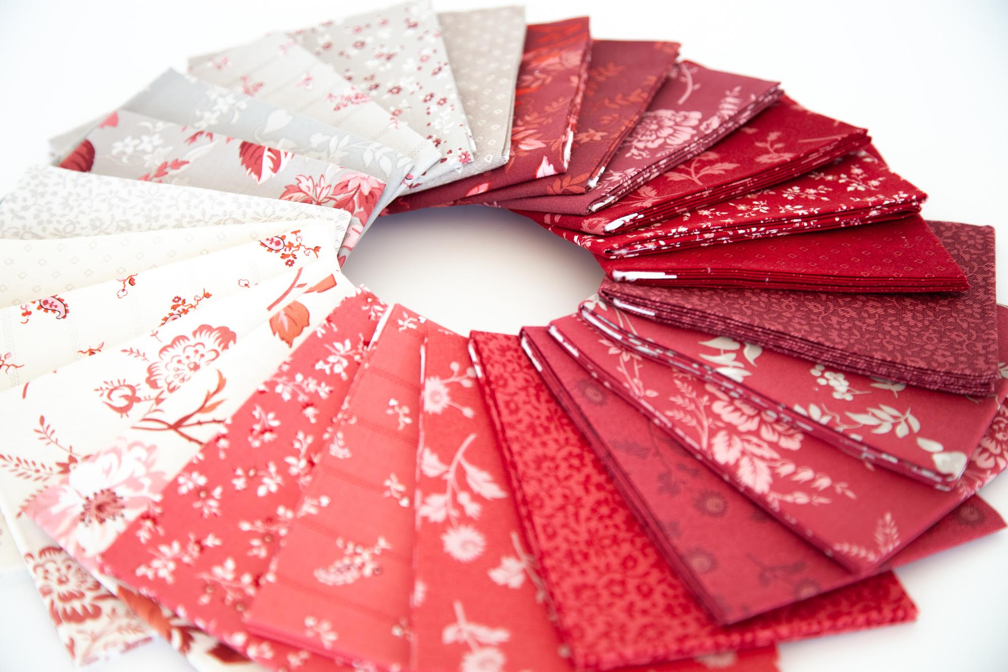 Red Elegance Fabric Fat Quarter Pack by Nancy Zieman Productions for Riley Blake Designs
