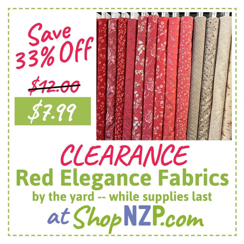 Save 33% Off Clearance Red Elegance Fabrics by the yard--while supplies last Available at Nancy Zieman Productions ShopNZP.com
