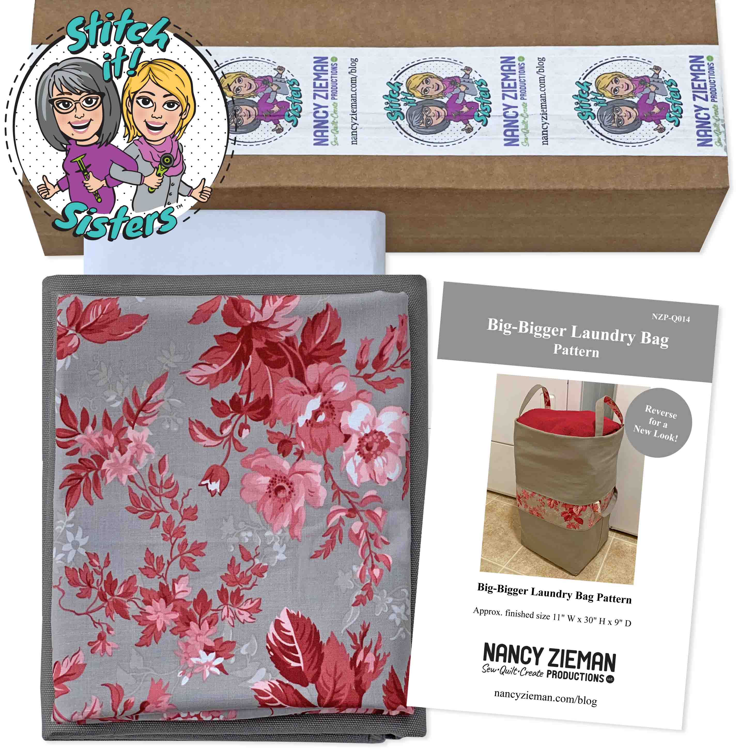 NEW! Big-Bigger Laundry Bag Bundle Box by the Stitch it! Sisters