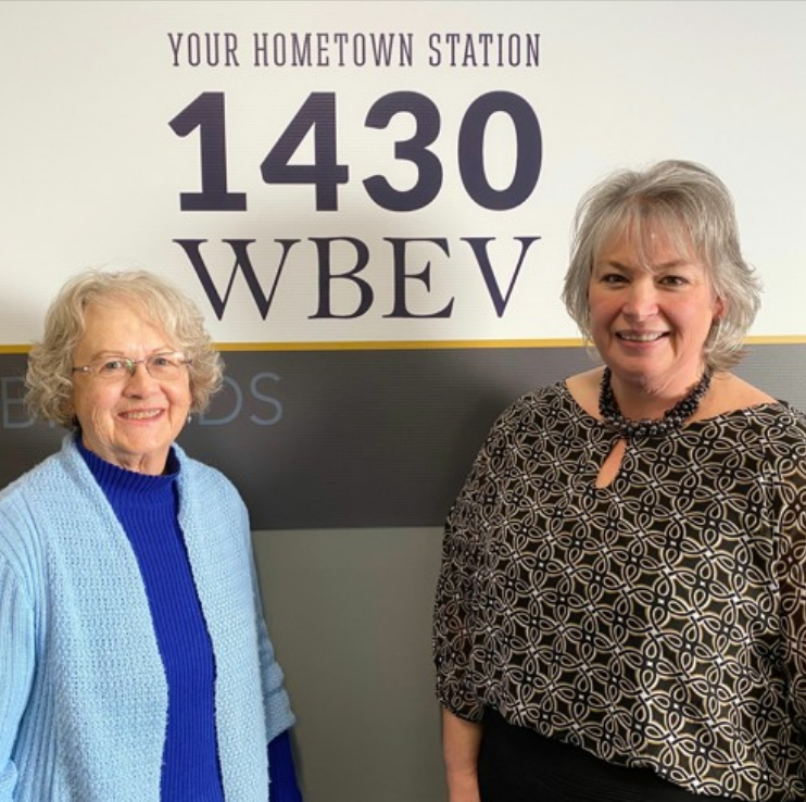 Judy Beyer and Deanna Springer on WBEV Radio Community Comment Celebrating Nancy Zieman Fiber Arts Exhibit at DCCA on display March 2020