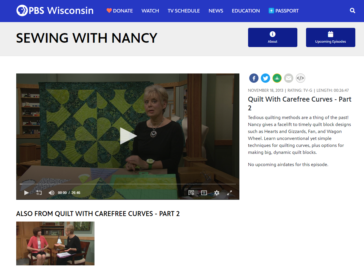 Watch Quilt With Carefree Curves Part Two on Sewing With Nancy with Host Nancy Zieman