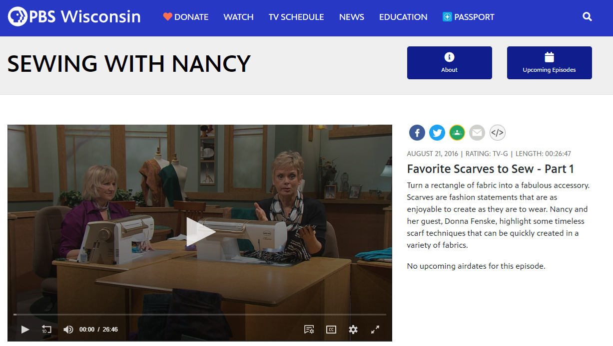 Watch The Best of Sewing With Nancy Favorite Scarves to Sew - Part 1 at nancyzieman.com