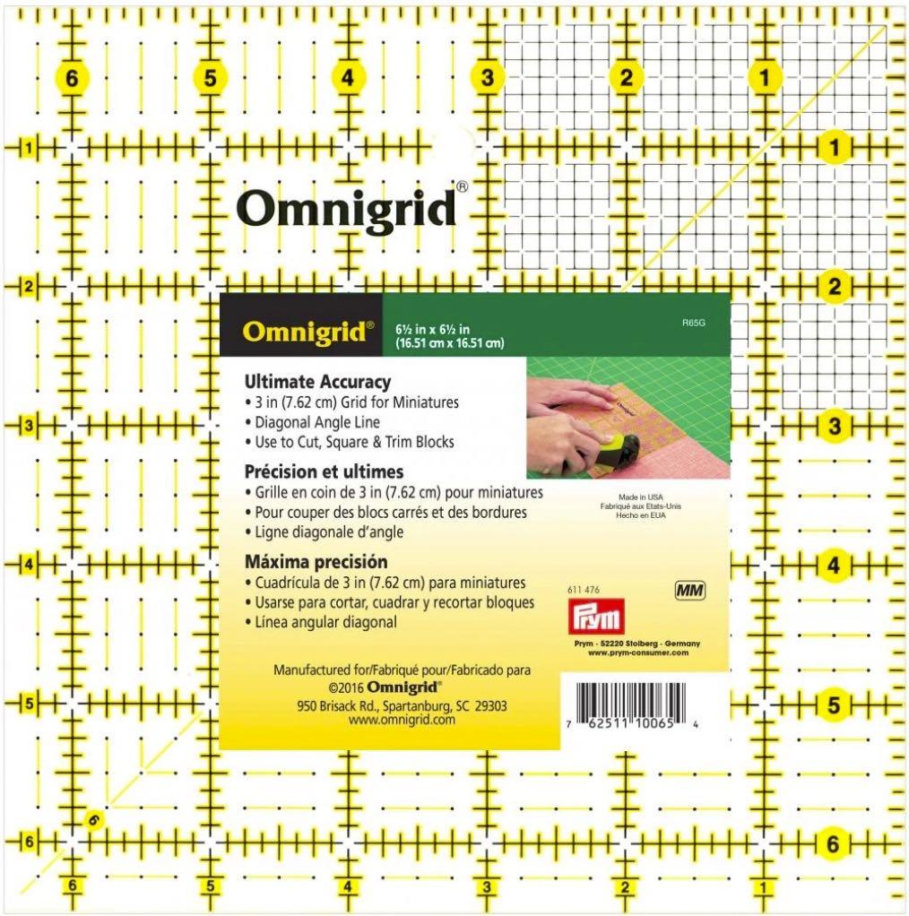 """Omnigrid 6.5"""" x 6.5"""" Square Ruler"""