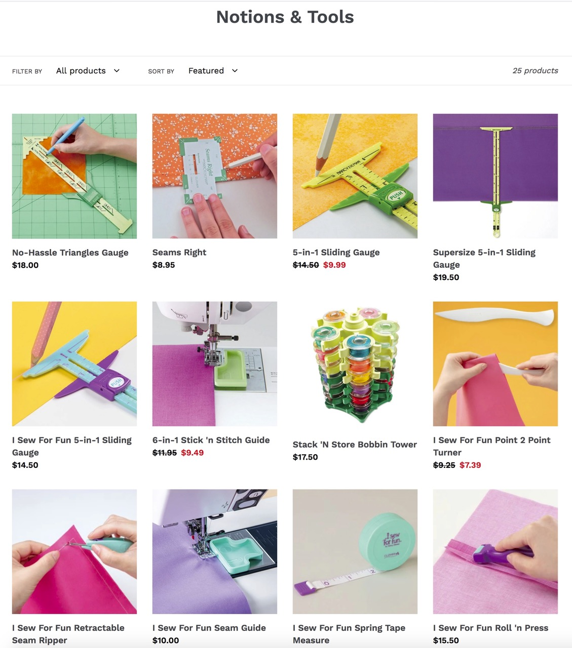 Shop Clover Notions and Shop Clover Sewing Tools available at Nancy Zieman Productions at ShopNZP