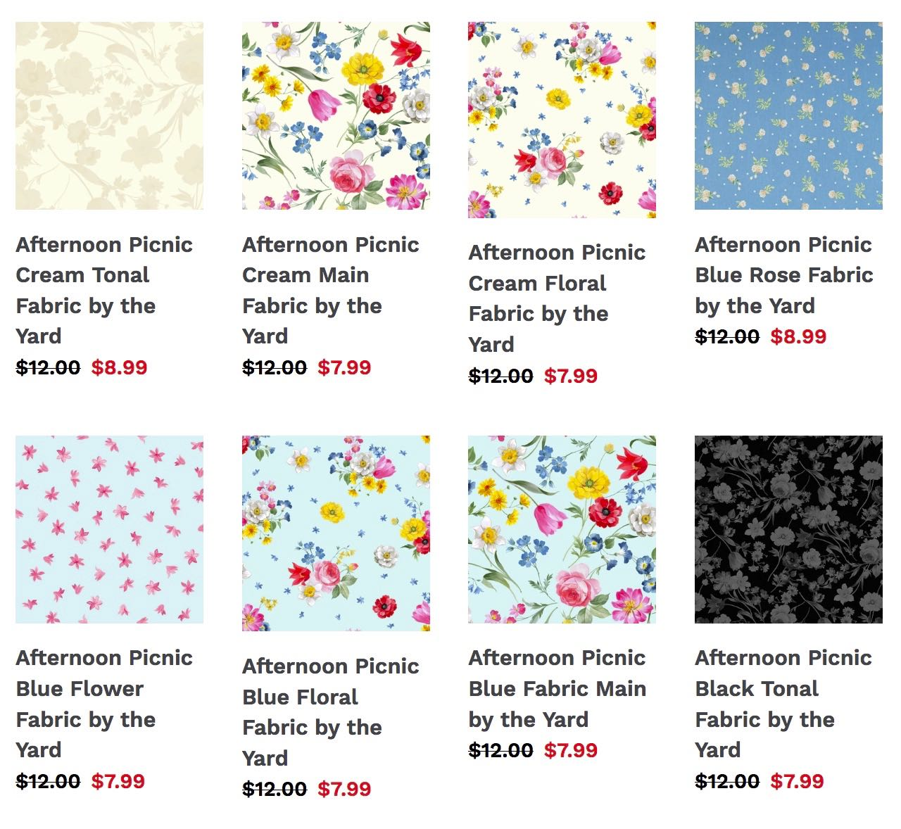 Afternoon Picnic Cotton Quilting Fabrics available at ShopNZP.com