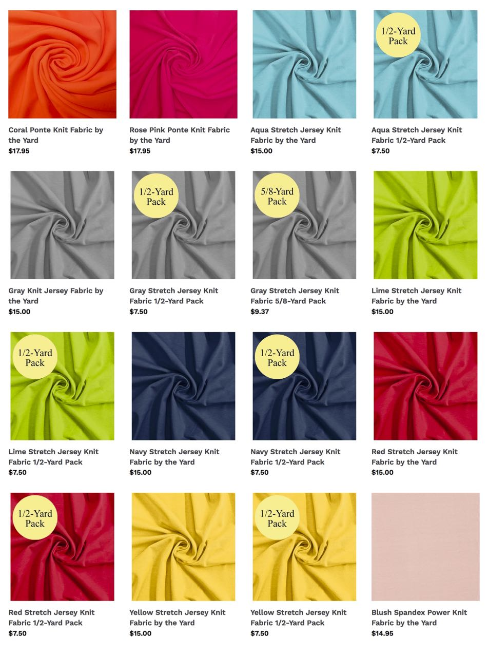 Shop for Jersey Knit Fabrics and Shop for Ponte Knit Fabrics at ShopNZP.com