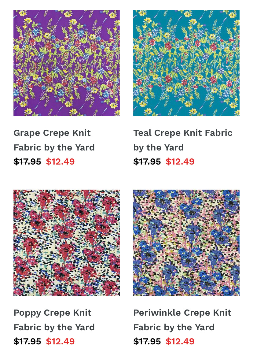 Crepe Knit Fabric by the Yard ShopNZP.com