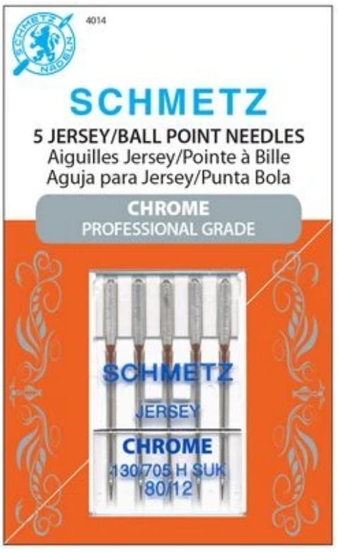 Schmetz Chrome Jersey/Ball Point Needles, Size 80/12