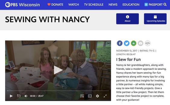 Watchg Sewing With Nancy Online at nancyzieman.com