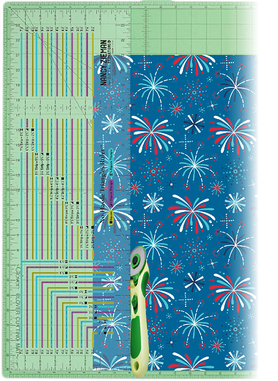 """Cut Easy 2-1/2"""" Fabric Strips with the Nancy Zieman No-hassle Triangles Ruler available at ShopNZP.com"""