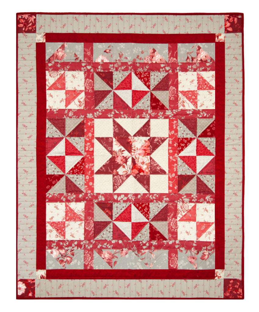Red Elegance Quilt Pattern by Nancy Zieman Productions and Red Elegance Fabric available at ShopNZP.com