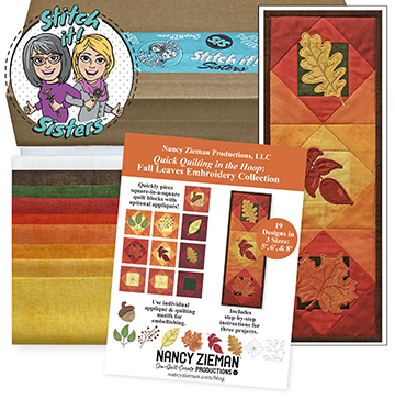 Quick Quilting in the Hoop Fall Leaves Mini Wall Quilt Bundle Box by Stitch it! Sisters available t ShopNZP.com