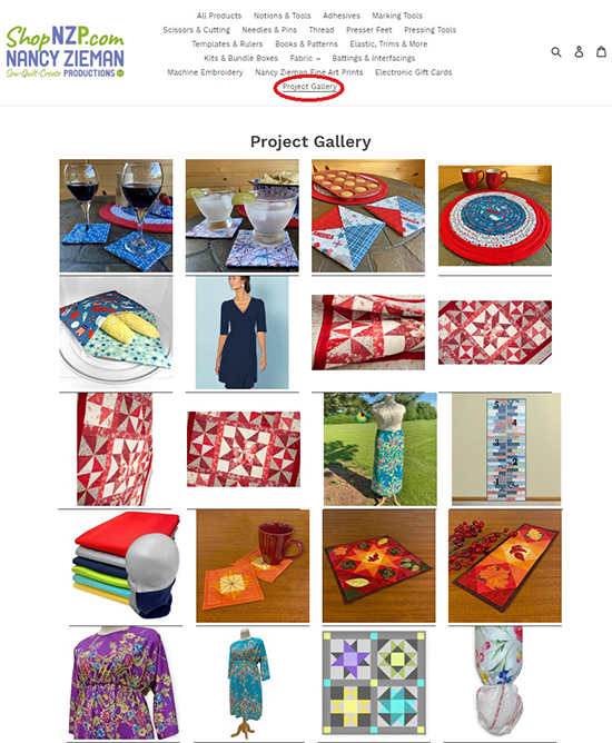 Visit the NEW! ShopNZP Project Gallery and find sewing project inspiration and ideas