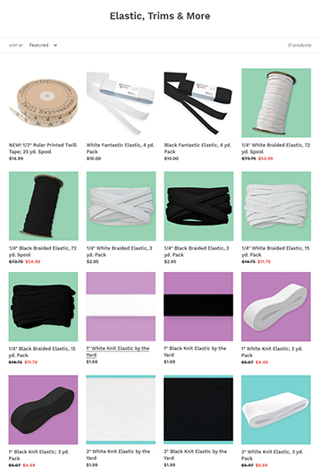 Elastics, Trims, and More available at ShopNZP.com