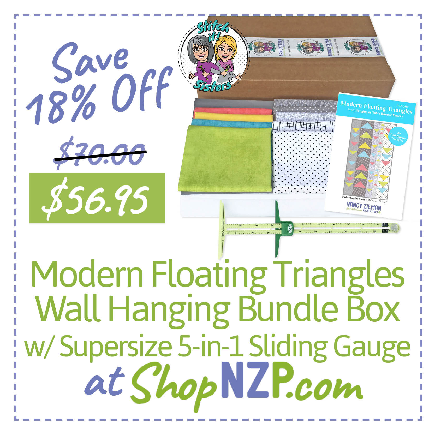 Save 18 Percent Off Modern Floating Triangles Wall Hanging Bundle Box with Supersize 5-in-1 Sliding Gauge ShopNZP.com
