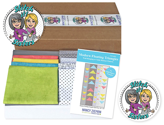 Stitch it! Sisters Modern Floating Triangles Wall Hanging Bundle Box Prize Giveaway at Nancy Zieman Productions Blog Celebrating Stitch it! Sisters' Season One Wrap Party