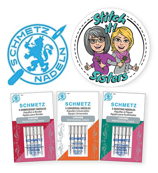 Schmetz Chrome Needle Trio Prize Giveaway at Nancy Zieman Productions Blog Celebrating Stitch it! Sisters' Season One Wrap Party