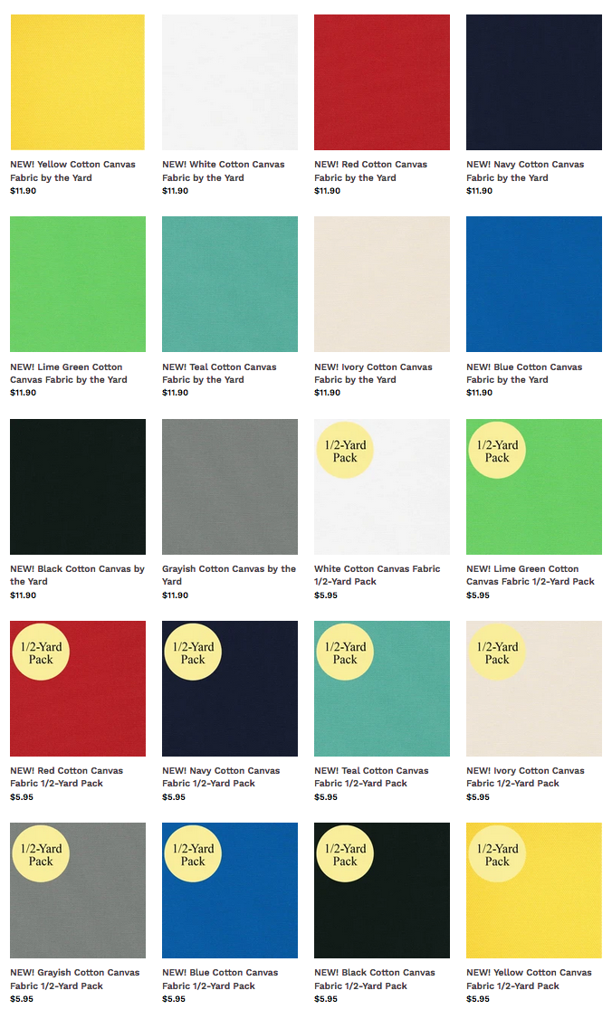 Buy NEW Cotton Canvas Fabric Colors at ShopNZP.com
