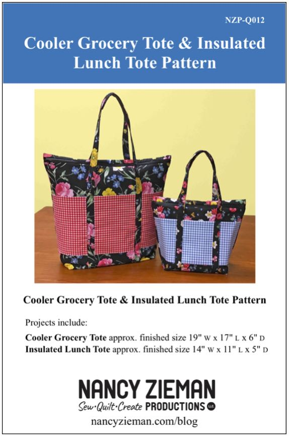 Cooler Grocery Tote & Insulated Lunch Tote Sewing Pattern Available at Nancy Zieman Producitons at ShopNZP.com