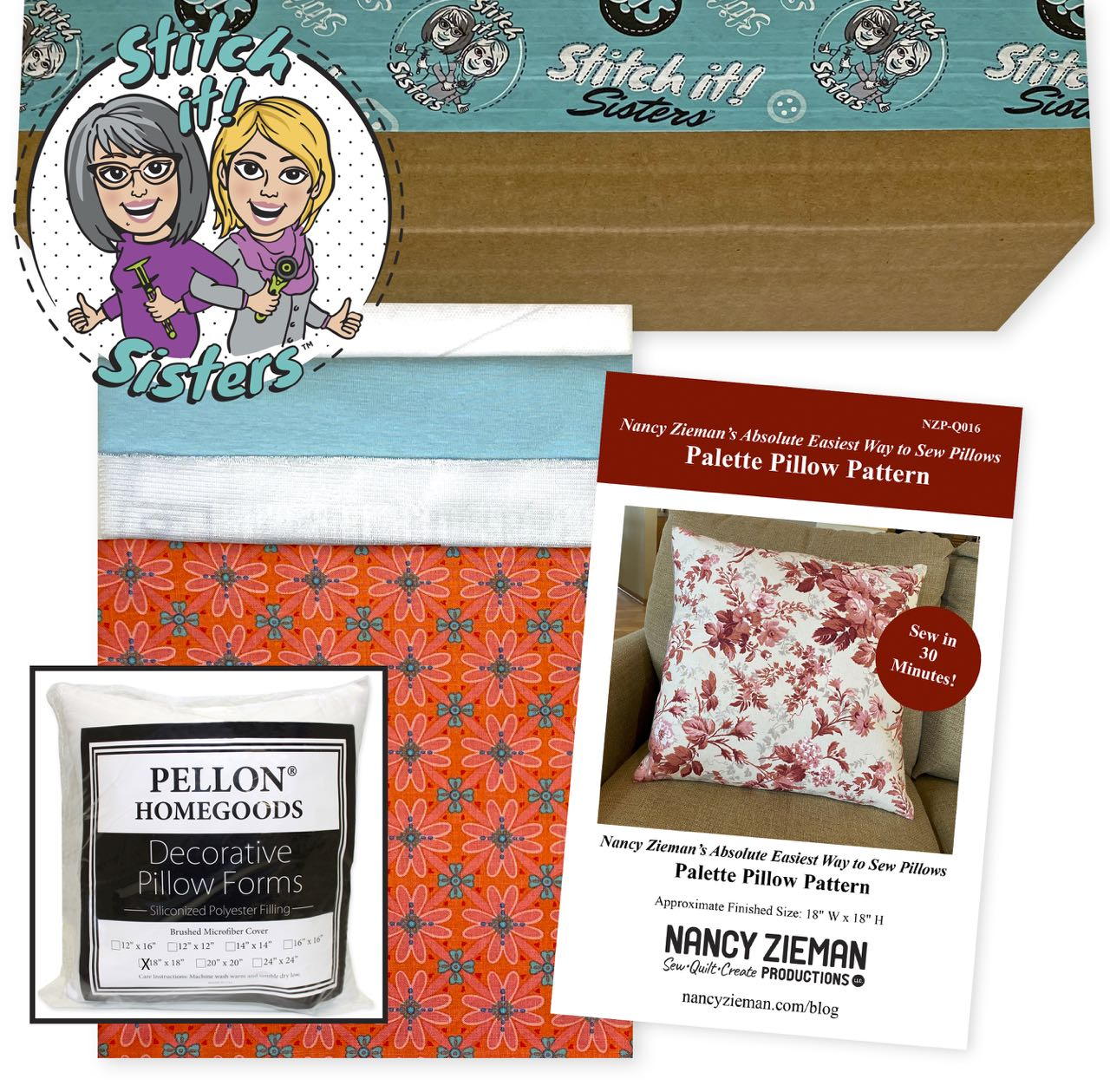 SISQ016CWBPPWPI_02  Coral Wildflower Boutique Palette Pillow Bundle Box with Pillow Insert