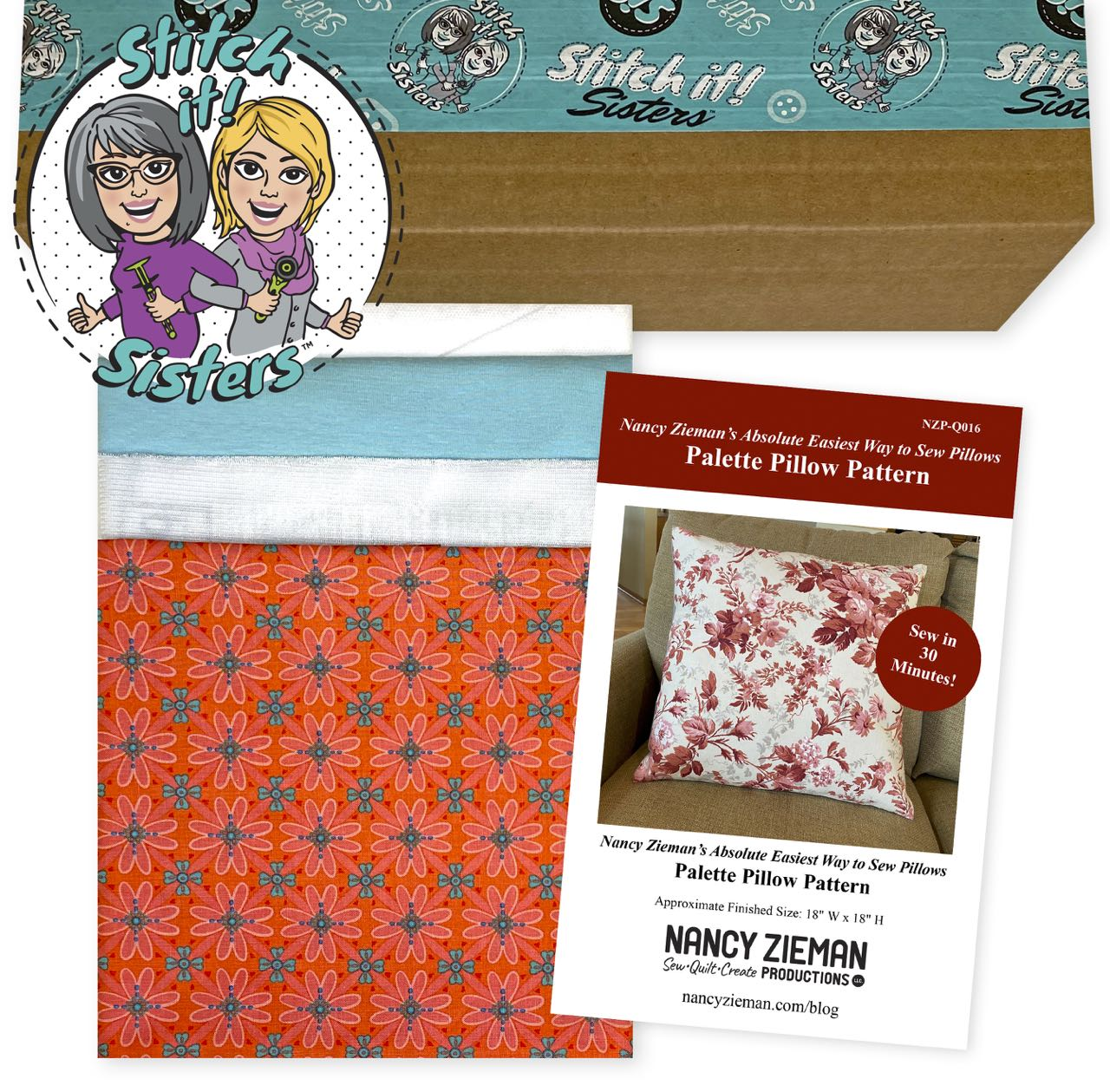 SISQ016CWBPP_01 Coral Wildflower Boutique Palette Pillow Bundle Box