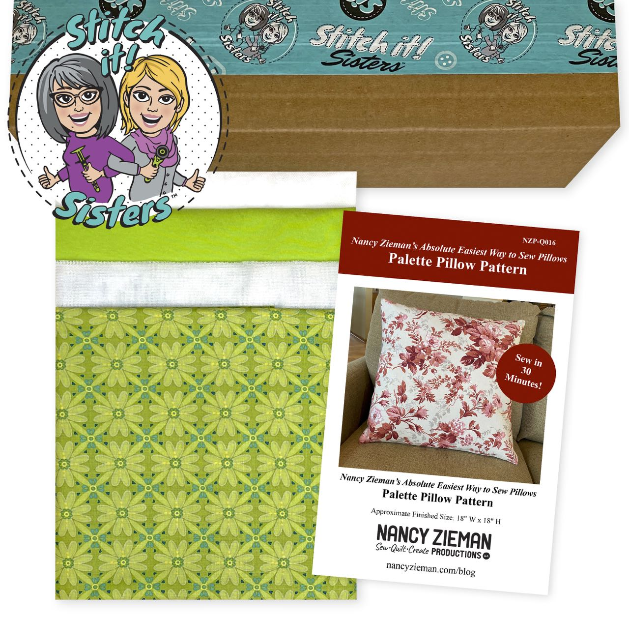 SISQ016GWBPP_01 Lime Wildflower Boutique Palette Pillow Bundle Box Available Exclusively at ShopNZP.com