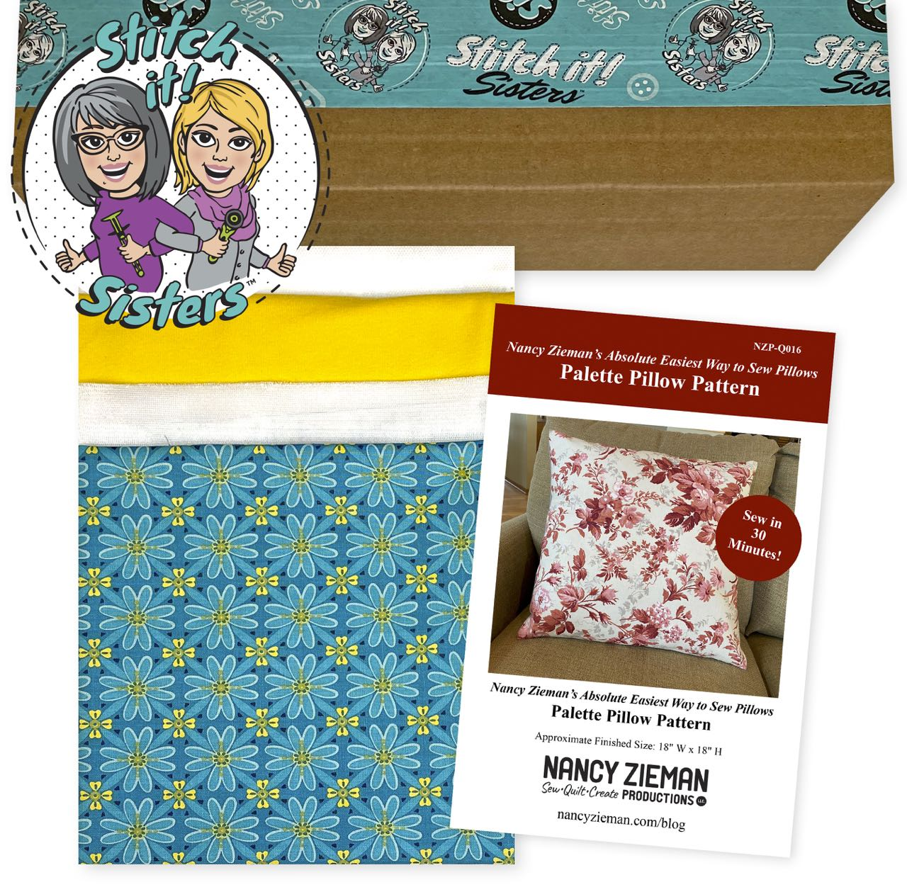 SISQ016TWBPP_01 Teal Wildflower Boutique Palette Pillow Bundle Box