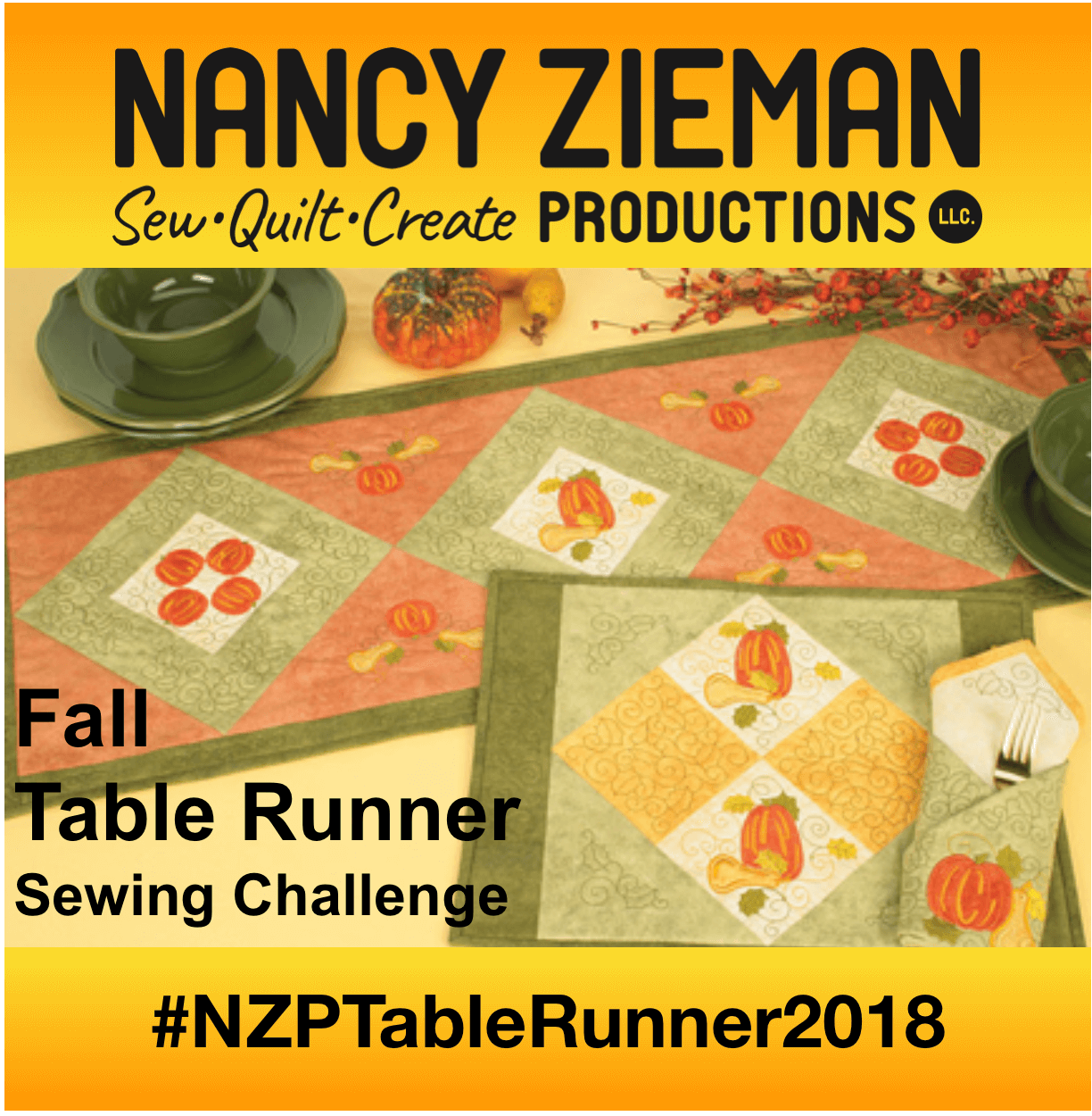Nancy Zieman Productions Fall Table Runner Challenge 2018