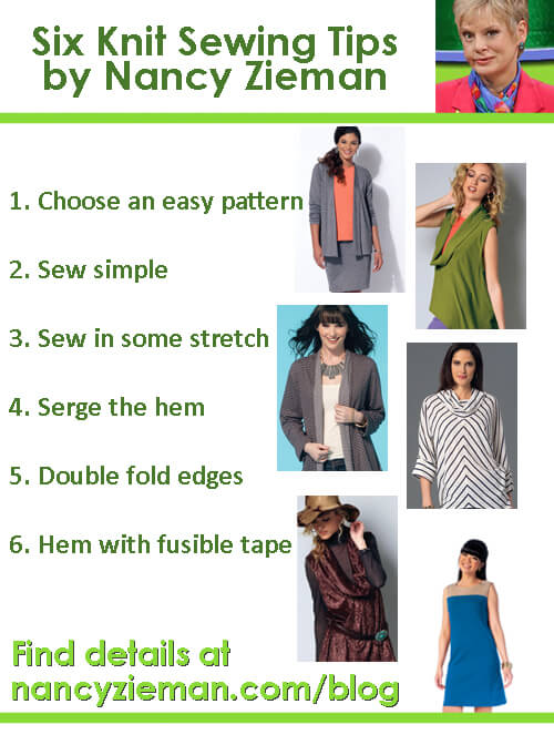 Six knit garment sewing tips by tv host Nancy Zieman