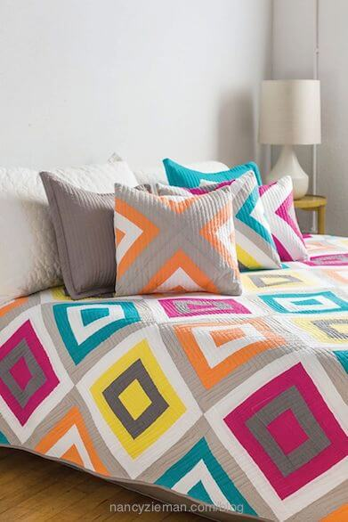 Log Cabin Quilts–20 Modern Log Cabin Quilts by Natalia Bonner and Kathleen Whiting as seen on Sewing With Nancy