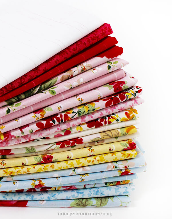 Farmhouse Florals Fat Quarter Bundle featured in She's Our Star 2018 Block of the Month by Sewing With Nancy Zieman