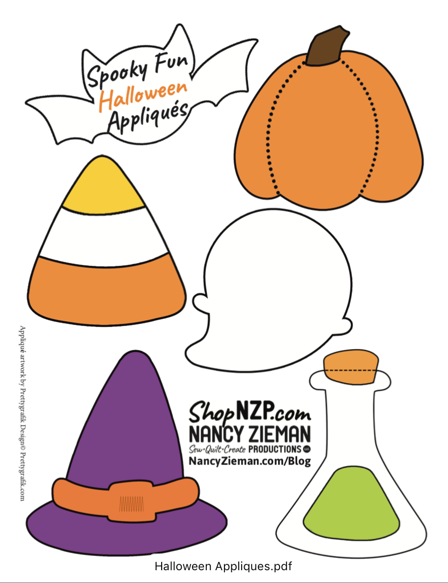Halloween Spooky Fun Applique Pattern Printable at The Nancy Zieman Productions Blog