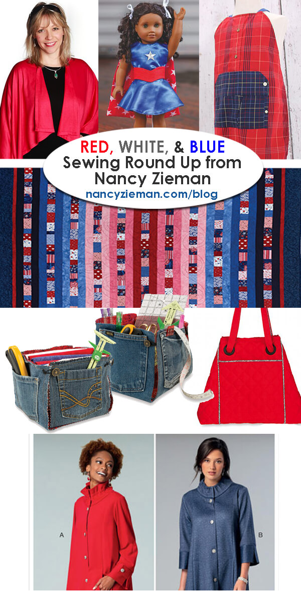 Red, White, and Blue Sewing Round Up by Nancy Zieman - Sewing With Nancy - Red, White, and Blue